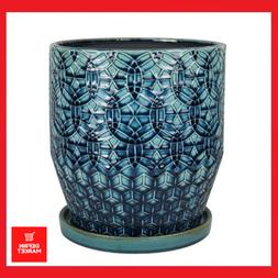 10 in Blue Rivage Ceramic Planter Plant Pots Home Indoor Out