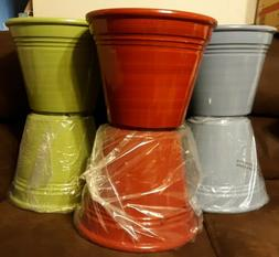 """12""""  Flower Pots 2- Blue, 2- Red And 2 Green  12"""" Plastic Bo"""
