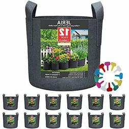 JERIA 12-Pack 5 Gallon, Vegetable/Flower/Plant Grow Bags, Ae