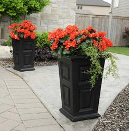 """2 Pack Wyndham Tall Planter 24"""" Tall, Self-Watering Tray Ins"""