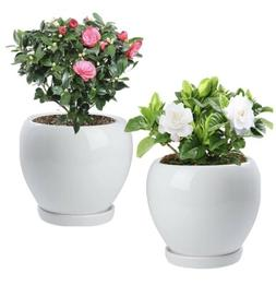 2 PCS Ceramic Plant Pot With Drainage Hole Saucer. For Indoo