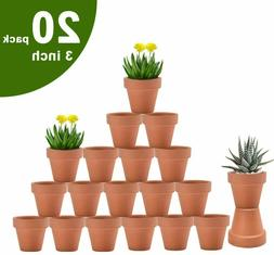 3 Inch Terra Cotta Pots with Drainage - 20 Pack Clay Flower