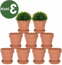 3 Inch Terra Cotta Pots with Saucer - 9 Pack Clay Flower Pot