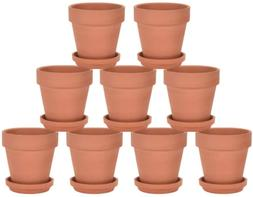 Riseuvo 3 Inch Terra Cotta Pots with Saucer - 9 Pack Clay Fl