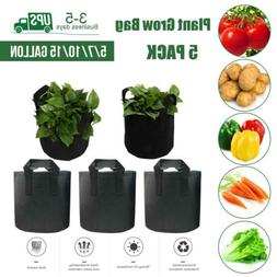 5,7,10,15 Gallons 5 Pack Grow Bags Garden Aeration Plant Fab