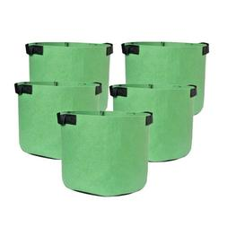 5-Pack Green Grow Bags Aeration Fabric Planter Root Growing