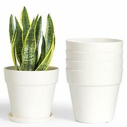 """6.5"""" Plastic Planters with Saucers, Set of 5 Indoor Flower P"""