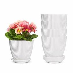 6 inch Plastic Planters with Saucers, Indoor Flower Plant Po