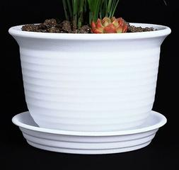 6 Inch Plastic Round Drainage Plant Pot with Saucer TrayOu