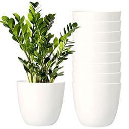 Youngever 8 Pack 5.5 Inch Plastic Planters Indoor Flower Pla