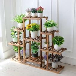 9 Tier Large Carbonized Wood Plant Stand Flower Pot Display