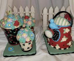 Mary Engelbreit Bookends Watering Can Flower Pots Picket Fen