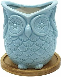 Ceramic Owl Succulent Planter Pot with Drainage Tray, Cute A