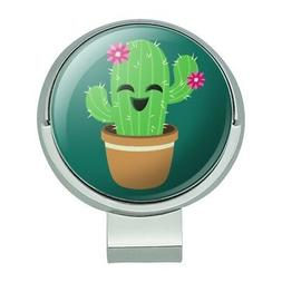Cute Cactus in Pot with Pink Flowers Golf Hat Clip With Magn