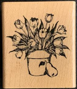 Delafield Fruit And Flower Pot - Tulips And Pear Rubber Stam