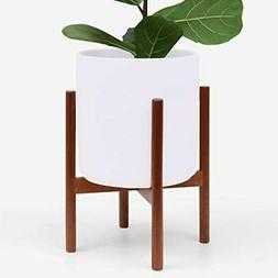 Large Modern Plant Pot w/ Wood Stand Perfect for Succulent P