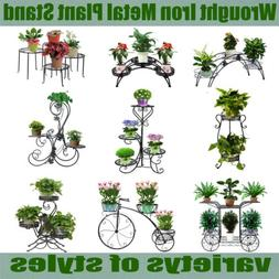 DAZONE Metal Plant Stand Rack Flower Pot Shelves Outdoor Ind