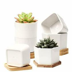 Mini Flower Pots with Drainage Hole,White Garden Pots with B