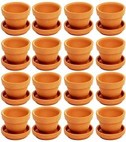 Mini Terra Cotta Pots with Saucer- 16-Pack Clay Flower Pots