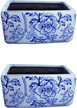 Old World Ceramic Blue and White Flower Rectangle planters S