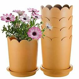 Plant Pot Indoor 7 Inch,  5 Pack Plastic Flower Pot with Dra