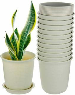 Plant Pots Indoor, 6 Inch Plastic Flower Planters with Drain