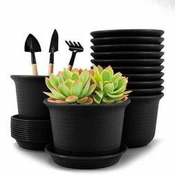 Plastic Flower Plant Pots, 6 inch Plant Containers with Drai