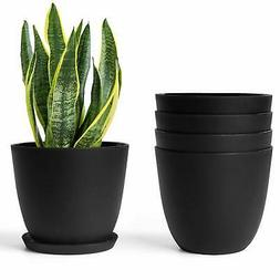 Plastic Planters with Saucers,Indoor Set of 5 Flower Plant P