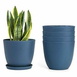Plastic Planters with Saucers, Indoor Set of 5 Flower Plant