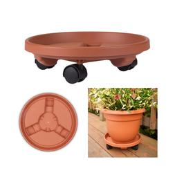 Rolling Round Caddy Dolly Plant Pot Mover Stand Terra Cotta