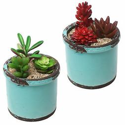 Rustic Style Ceramic Succulent Planters, Small Round Flower