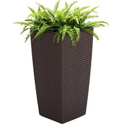 Best Choice Products Self Watering Wicker Planter W/ Rolling