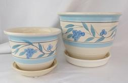 """SET OF 2 CERAMIC 8"""" and 5"""" PLANTERS WITH SAUCERS FLOWER POTS"""