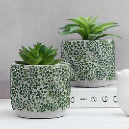MyGift Set of 2 Chic Concrete Flower Pots with Green Succule