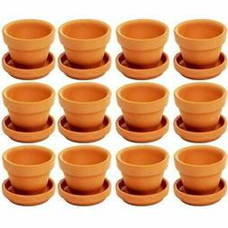 Juvale Small Terra Cotta Pots with Saucer- 12-Pack Clay Flow