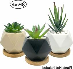 Succulent Pots 3 Inch Ceramic Mini Flower Pots with Bamboo B