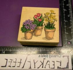 TULIPS VIOLETS FLOWER POTS BLOOMING RUBBER STAMPS HERO ARTS