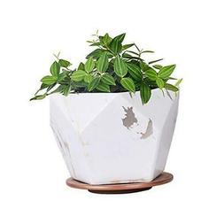 White Ceramic Plant Pot with Drainage Hole and Saucer,7 inch