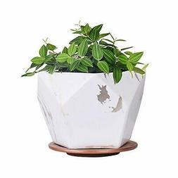White Ceramic Plant Pot with Drainage Hole and Saucer7 inch