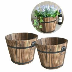Wooden Barrel Flower Pot Whisky Planter Container With Handl